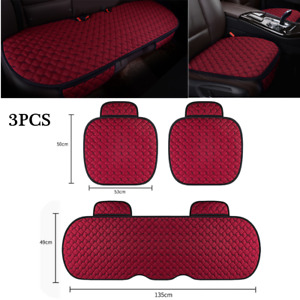 3PCS Universal Wine Red Linen Fabric Car SUV Seat Cover Front Rear Flax Cushion