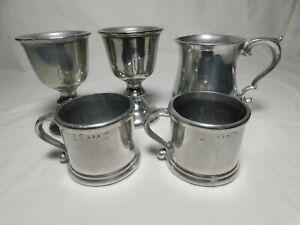 Set of 5 Vintage Wilton Armetale Wine Goblets, Coffee Cup, Pewter Mug, Polished