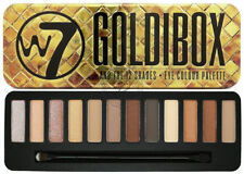W7 Goldibox Eyeshadow Palette - Shimmer Mattes Browns Natural Gold Eyes Tin Face