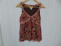 Ann Taylor LOFT Women's Floral Print V Neck Tank Top Sleeveless Blouse Size 2