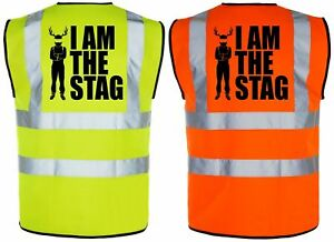 I AM THE STAG STAG DO PARTY GROOM Hi-Vis High-Viz Vest/Waistcoat | Yellow/Orange