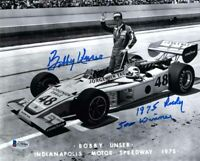 BOBBY UNSER SIGNED AUTOGRAPHED 8x10 PHOTO + 1975 INDY 500 WINNER BECKETT BAS