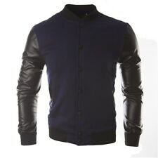 Contrast Color Sporty Jacket For Men - Navy Blue