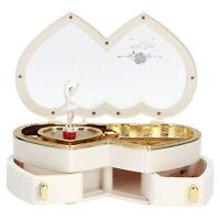 Double Heart Ballerina Musical Box Jewelry Box Storage Case Girls Gift