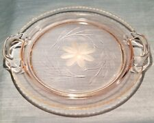 STUNNING LARGE PINK DEPRESSION HUGHES CORNFLOWER CRYSTAL GLASS HANDLE CAKE PLATE