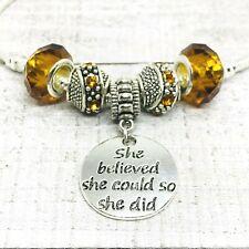November Birthstone Amber Dangle Charms European Bead fit Bracelet She Believed