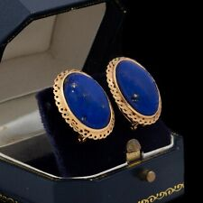 Antique Vintage Art Deco 14k Yellow Gold Etruscan Lapis Lazuli Cluster Earrings