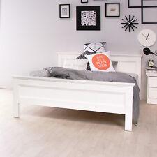 Bett Landwood Bettgestell Futonbett in weiß mit Kopfteil 140x200 cm Landhausstil