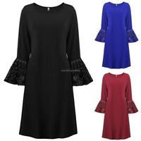 Women Plus Sizes Flare Long Sleeve Solid A-Line Short Retro Elegant Dress