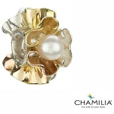 Genuine Chamilia silver &14ct yellow & rose gold pearl petals charm MG-2