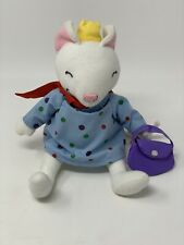 """Merry Makers Plush 9"""" Lilly Mouse White Stuffed Animal in Dress Cape Crown Purse"""