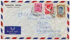THAILANDIA siam Airmail Oriental Hotel BUSTA 1962 al Morpeth GB
