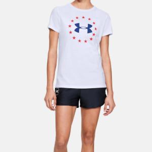 Under Armour Women's UA HeatGear Freedom Logo T-Shirt.Color: White / Royal