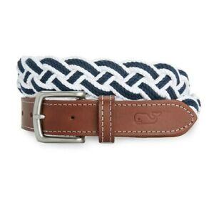 Vineyard Vines Men's Size 32 Blue & White Multi Braided Rope Belt 1B000066 $68