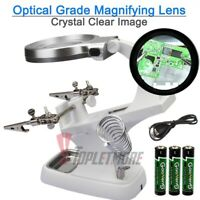 Helping LED Hand Clamp Magnifying Glass Magnifier Tool Soldering Iron Stand Lens