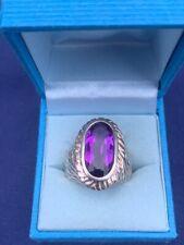 Silver Dress Ring, Large Purple/Amethyst Colour Stone, Bark Effect Shoulders