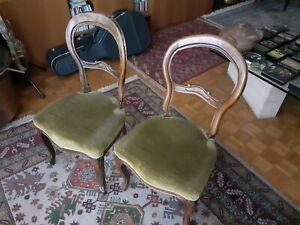 Coppia di sedie Luigi Filippo noce metà 800