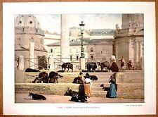 ITALIE Chèvres dans le Forum de Trajan à Rome - Photochromie fin 19ème gravure