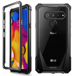 Poetic Shockproof Case For LG V40 ThinQ Cover Anti-Slip w/Screen Protector Black