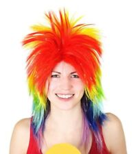 Men's Lady's Rainbow Spikey Punk Rock 80s Mullet Wig Costume Accessories