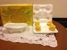 AVON VTG 1970's BEAUTY BUDS YELLOW ROSE SOAPS W/MILK GLASS DISH NEW OLD STOCK