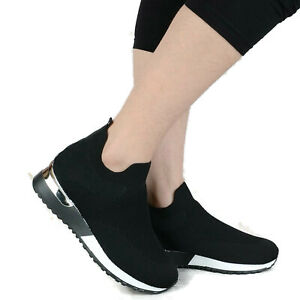 Womens Ladies Slip On Wedge Jogging Sock Sneakers Classic Trainers Pumps Shoes