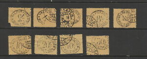 Chile 1895 Valparaiso Postage Dues , very mixed poor condition. 9 stamps