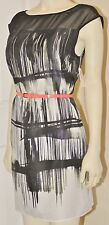 NWT DRESS Jessica Simpson RAKE BLACK Artsy White Artwork Sheer NEW UNIQUE Size 6