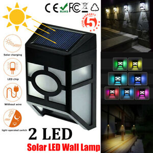 Solar 2LED Wall Mount Light Outdoor Garden Path Fence Yard Patio Waterproof Lamp