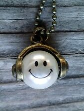 Smiley face with headphones on chain, emoji necklace, cool music lover gift