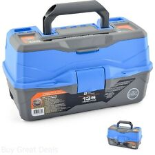 2 Tray Fishing Tackle Box With 136 Pieces Assorted Tackle Ready To Fish Blue Box