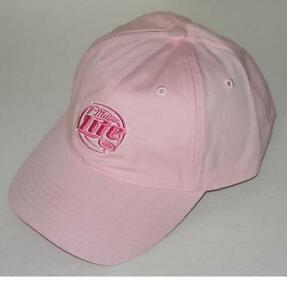 new MILLER LITE baseball cap in all pink—quality, authentic Miller-licensed hat