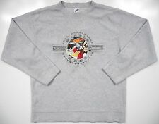 WARNER BROS MENS LARGE CASUAL FLEECE SWEATER GREY VINTAGE RARE EMBROIDERED TAZ