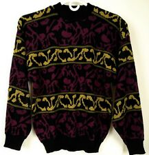 Vintage Mens Sweater Retro Funky Ski Color Block Textured Size L Hip Hop Biggie