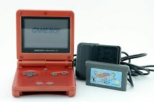 Nintendo Game Boy Advance SP Flame Red AGS-001 w/ Power Adapter + Odd Parents