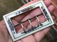 More details for antique hallmarked silver & enamel buckle with violets birmingham 1912. wep & co