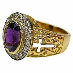 Natural Amethyst Gemstone with Gold Plated 925 Sterling Silver Ring for Men's