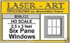 "Branchline # 731  Windows - Laser-Art  6-Pane, 30 x 36"" pkg(12)  HO  MIB"