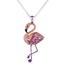 "Large Pink Flamingo Charm Pendant Fashionable Necklace - Enamel - 17"" Chain"