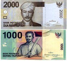 INDONESIA SET 2 PCS 1000 2000 RUPIAH 2013-2014 P 141 UNC