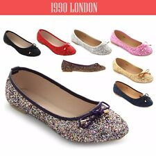WOMENS LADIES FLAT PUMPS WOMENS GLITTER BALLET BALLERINA DOLLY BRIDAL SHOES SIZE