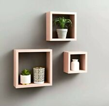 New Stunning Easy To Install Wall Decor 3 Cube Shelves In A Pretty Blush  Colour