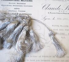"2 Lovely Vintage Antique French Silver Metallic Thread Tassel Fringe Trim 2 1/4"""