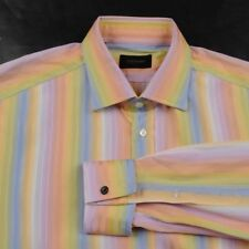 DUCHAMP Rainbow Pastel Multi Striped 100% Cotton Mens Luxury Dress Shirt - 17.5
