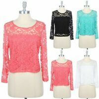 Junior Plus Size- Full Floral Lace 3/4 Sleeve Cropped Top Keyhole 1XL 2XL 3XL