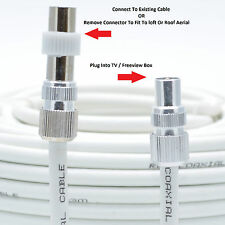 TV Ariel Lead video lead TV Lead, Aerial Coax Cable RF lead RG6 7mm White 10m