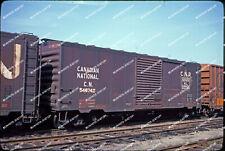 ORIG SLIDE Canadian National boxcar 546742 still wearing maple leaf Original