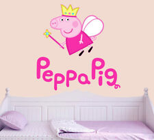 Fairy Peppa Pig Wall Art Vinyl Stickers Girls Nursery Bedroom Decals Murals