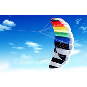 Inflatable Stunt Power Kite Dual-Line Parafoil Parachute w/ Fly Line Winders