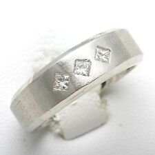 Diamond Men's Ring 1/3 ct brushed Pricness Square cut matte14k white gold NEW!